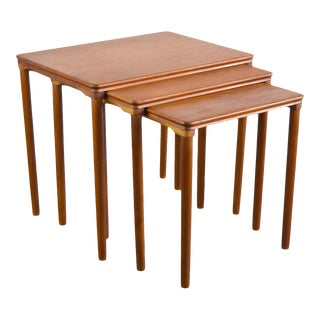 Danish Teak Nesting Tables for E. W. Bach, Set/3 For Sale