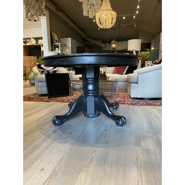 Wood Antique Black Round Oak Claw Foot Dining Table For Sale - Image 7 of 12