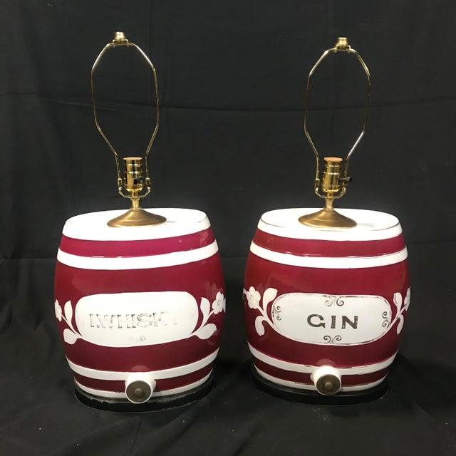 Ceramic 1920s Festive British Ceramic Spirit Barrel Lamps - a Pair For Sale - Image 7 of 7
