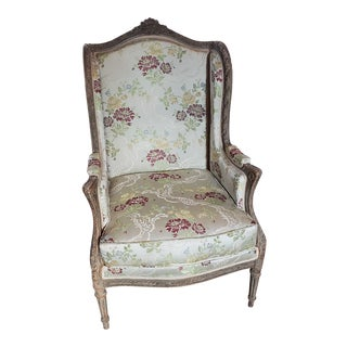 French Upholstered Wingback Chair For Sale