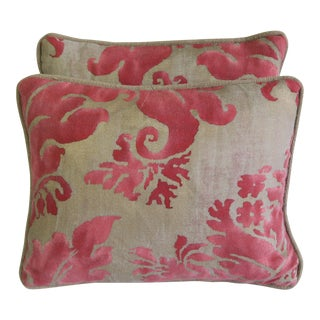 Pink and Tan Pillows - a Pair For Sale
