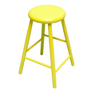 Vintage Swedish Yellow Painted Stool For Sale