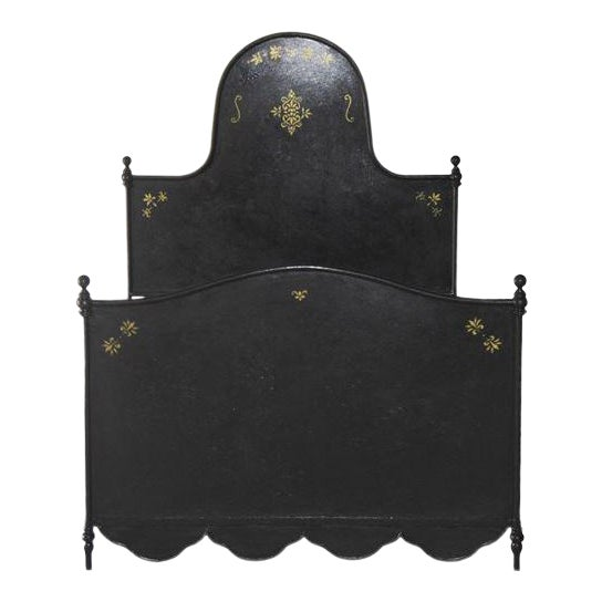 S&l Designs Black Wrought Iron Twin Bed With Gold Detail For Sale