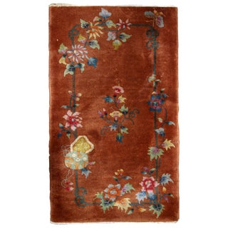 1920s Handmade Antique Art Deco Chinese Rug 2.9' X 4.10'