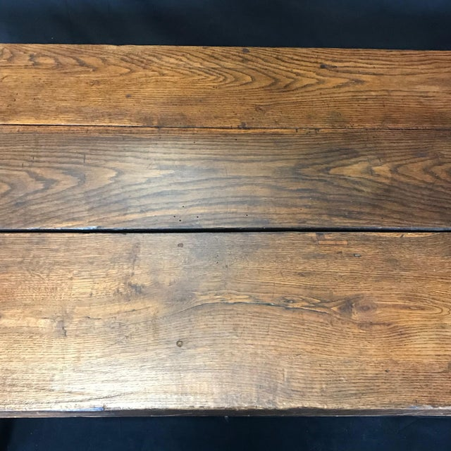 Brown Early 19th Century Oak Farm Table With Sliding Drawers For Sale - Image 8 of 13