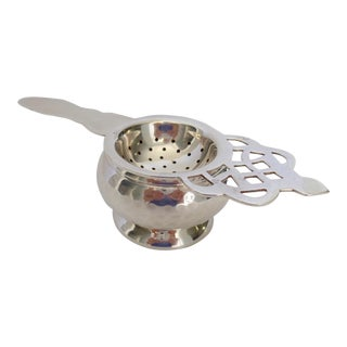 Silver Plate Tea Strainer and Cup Holder - 2 Pieces For Sale