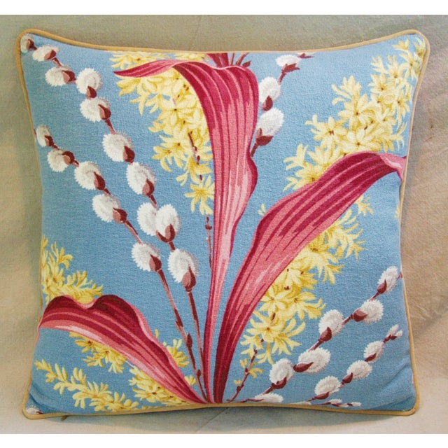 Vintage Tropical Floral Barkcloth Pillows - a Pair - Image 4 of 11