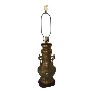James Mont Style 1940s Asian Antique Brass Lamp With Red Wood Base For Sale