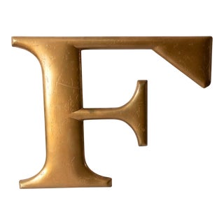 Mid Century Gold Letter F For Sale