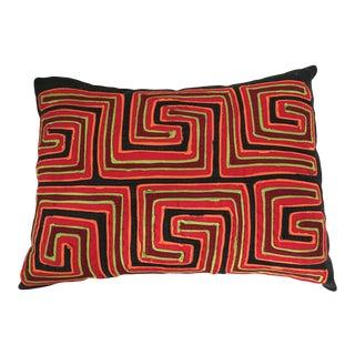 "Vintage Mola Textile Lumbar Pillow 16"" W For Sale"