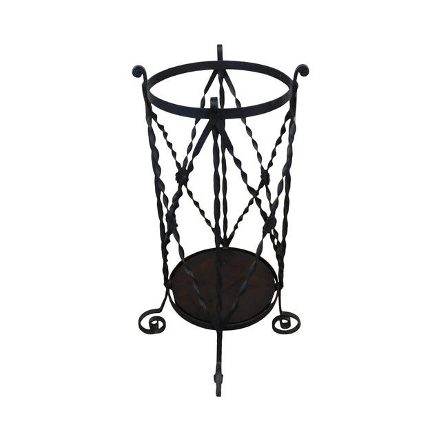 Aesthetic Antique Hand Wrought Iron Umbrella Stand For Sale - Image 13 of 13