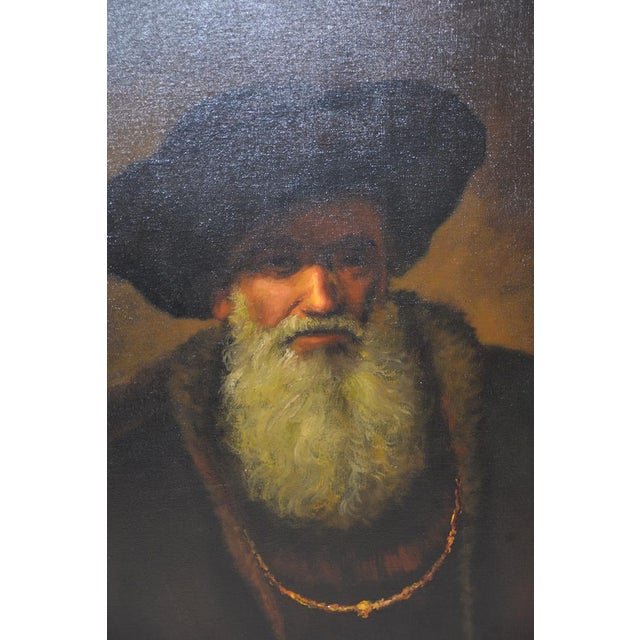 Mid 20th Century Oil Portrait After Rembrandt Fine oil portrait of a bearded man with a hat and heavy robe. Original oil...