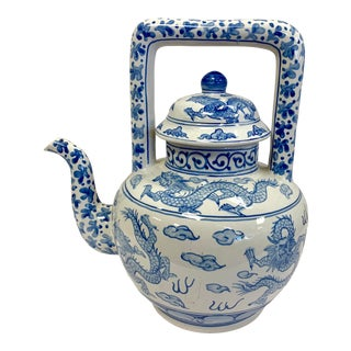 Chinese Blue and White Porcelain Dragon Teapot For Sale