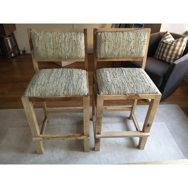 Calypso St. Barth Sandstone Woven Leather Stools - A Pair - Image 2 of 8