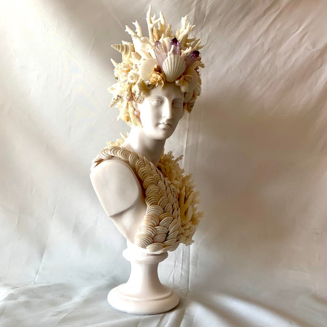 Cast Marble Shell Diana Bust Sculpture For Sale In West Palm - Image 6 of 13