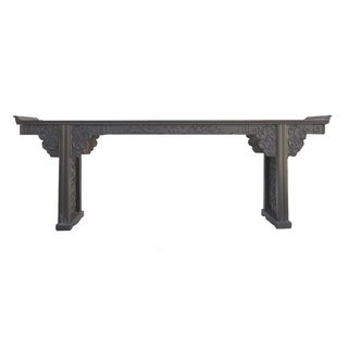 Chinese African Zitan Dragon Long Console Table