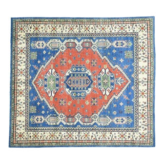 Hand-Knotted Geometric Design Kazak Wool Rug- 8′6″ × 9′6″ For Sale