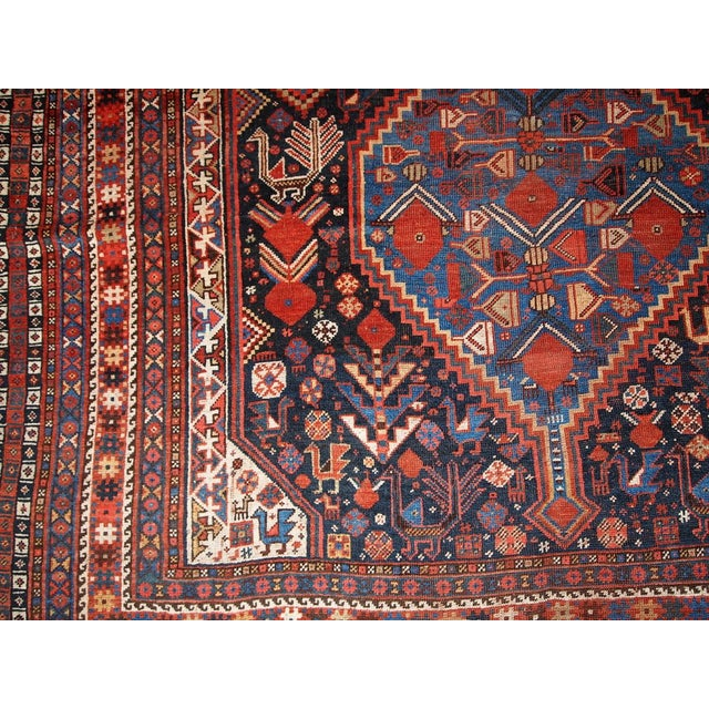 1880s Hand Made Antique Persian Khamseh Rug - 6' X 9' For Sale - Image 10 of 10