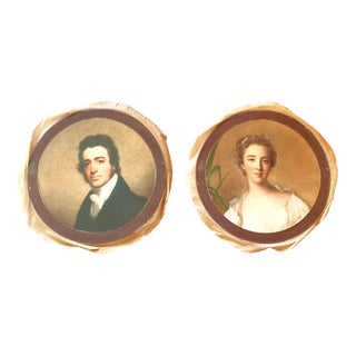 Antique Style Round Portraits of a Gentleman and Lady on Canvas - Set of 2 For Sale