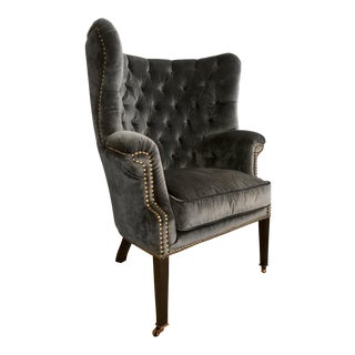 Velvet Tufted Wingback Chair For Sale