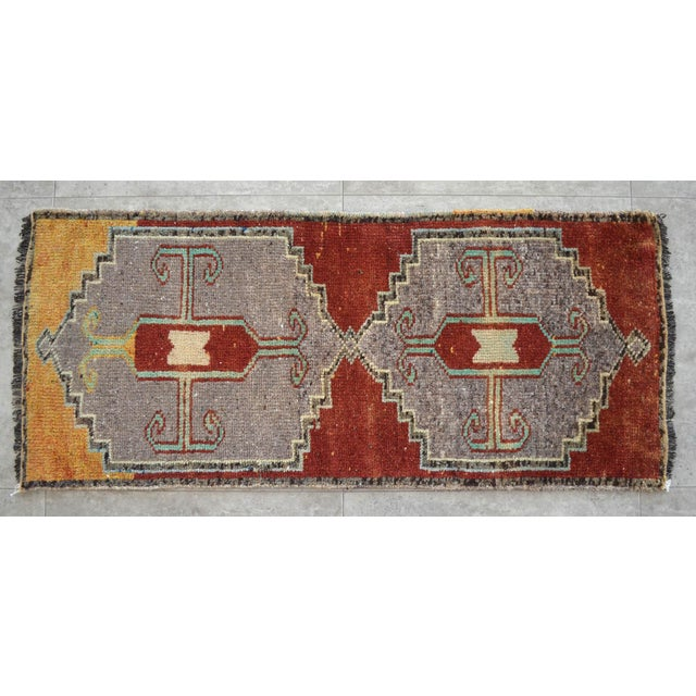 Distressed Low Pile Kurdish Medallion Yastik Rug Faded Colors Vintage Petite Rug - 19'' X 43'' For Sale - Image 4 of 4