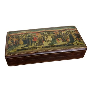 1950s Florentine Chocolste Brown Leather Box With Renaissance Picture on Lid and Gold Tooling For Sale