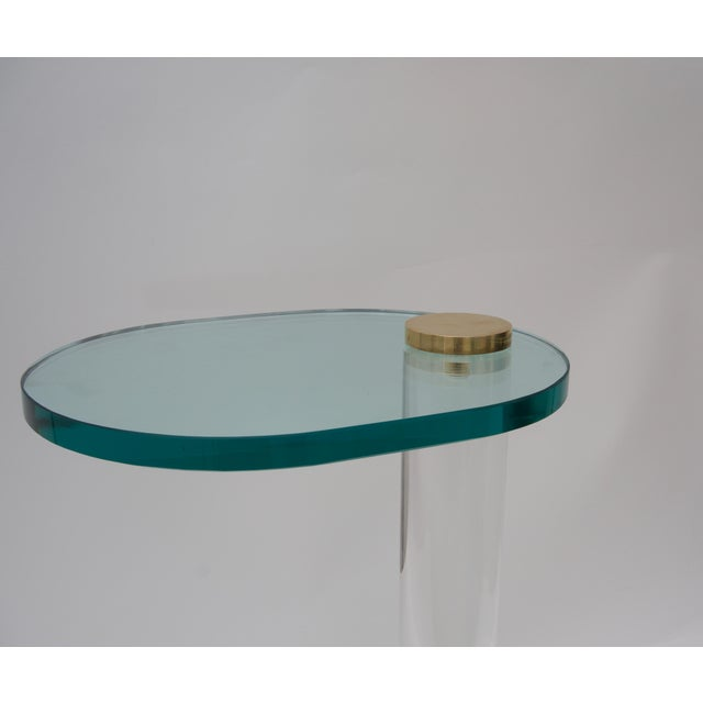 Pace Side Table in Lucite, Brass and Glass by Pace Furniture For Sale - Image 4 of 8