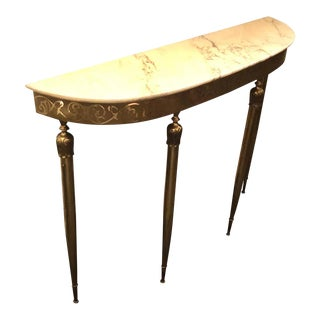 1960s Italian Mid-Century Modern Brass and Marble Console For Sale