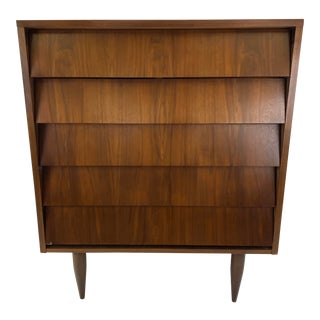 Mid Century Walnut Dresser W/ Louvered Drawers For Sale