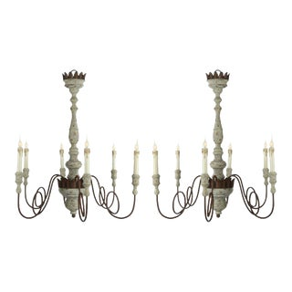 One Pair of Italian Style Wood and Iron Six-arm Chandeliers