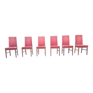 Vintage Danish Komfort Rosewood Teak High Backed Upholstered Dining Chairs - Set of 6 For Sale