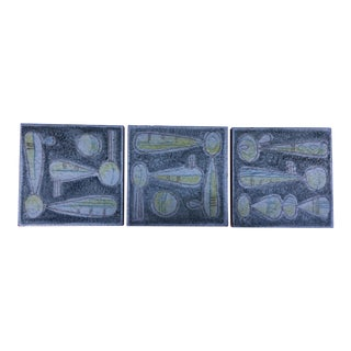Vintage Mid Century Italian Ceramic Tiles- Set of 3 For Sale