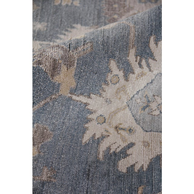 Chester Hand knotted Bamboo/Silk Medium Blue Rug-8'x10' For Sale In Los Angeles - Image 6 of 8