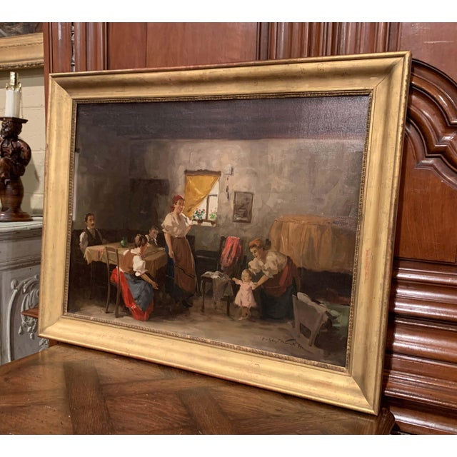 Canvas 19th Century Hungarian Oil on Canvas Painting in Gilt Frame Signed & Dated, 1897 For Sale - Image 7 of 12