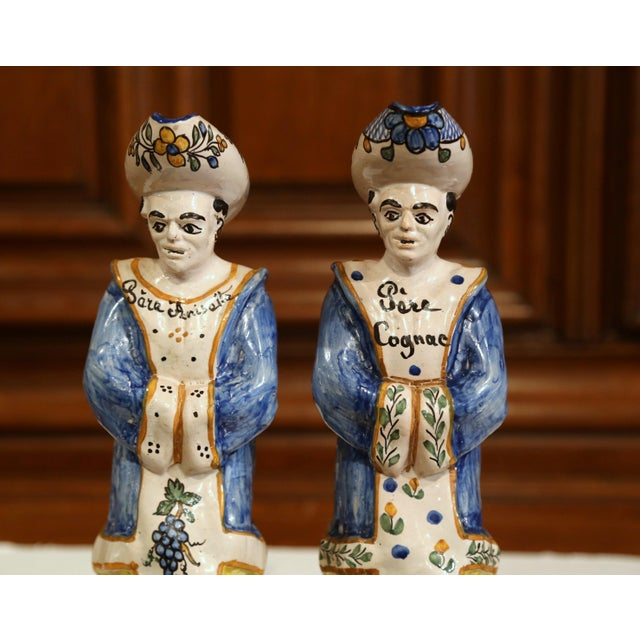 French 19th Century French Hand-Painted Ceramic Bar Figurines or Pitchers - a Pair For Sale - Image 3 of 9