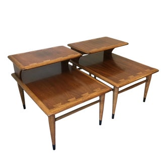 1962 Mid-Century Modern Lane Furniture Two-Tier Side Tables - a Pair
