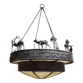 Cast Bronze Elk & Rawhide Chandelier