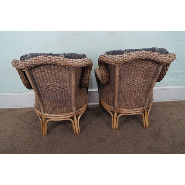 Braxton Culler Wicker Wing Lounge Chairs/Ottoman - Image 4 of 10
