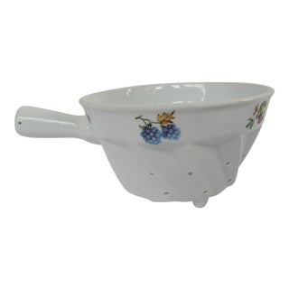 Vintage English White Porcelain Colander With a Handle and Fruit Design For Sale