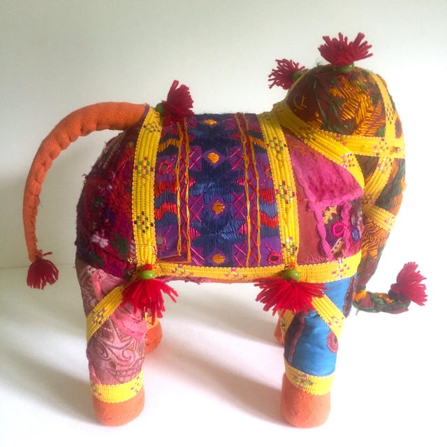 Vintage Indian Patchwork Elephant Figurine For Sale - Image 5 of 11