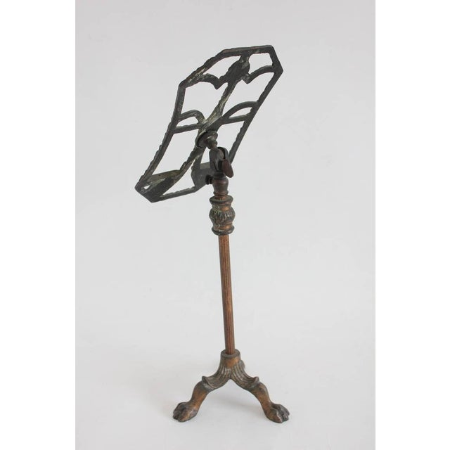 """Original antique copper shoe display stand with adjustable height. H from 17.25"""" to 25"""". Top W 5.5"""""""