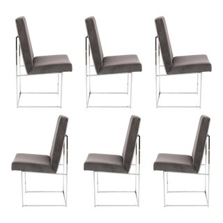 1980's VINTAGE MILO BAUGHMAN FOR THAYER COGGIN DINING CHAIRS- SET OF 6 For Sale