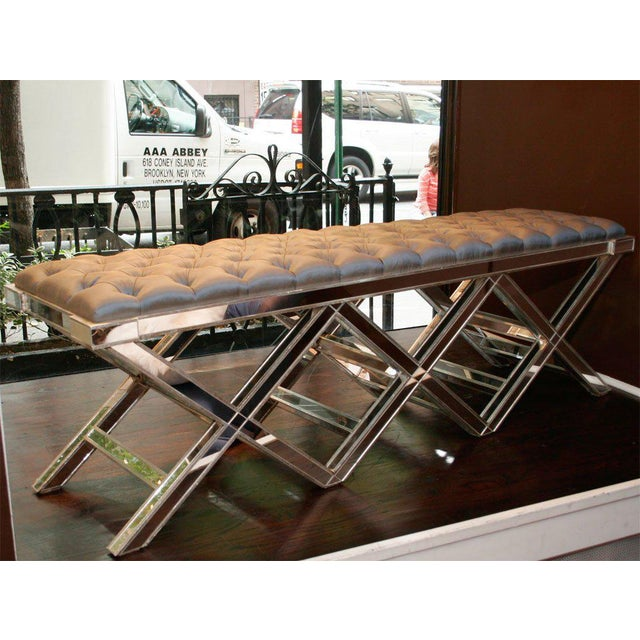 2000 - 2009 Custom Triple Silver Trim X-Band Mirrored Bench For Sale - Image 5 of 5