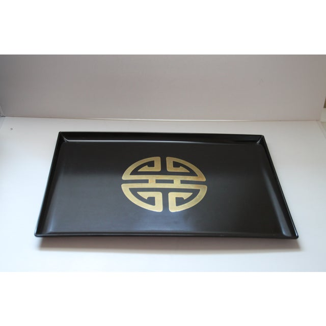Couroc for Gumps Asian-Style Brass Inlay Tray - Image 2 of 4