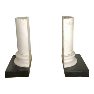 Vintage Neoclassical Black and White Marble Column Bookends - a Pair