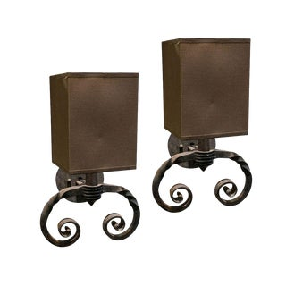 Pair of Single Light Iron Sconces For Sale