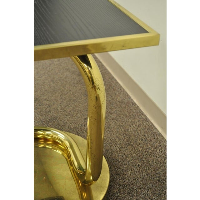 Vintage Paul Tuttle Mid Century Modern Brass Revolving Tray Top Anaconda Side Table For Sale - Image 9 of 11