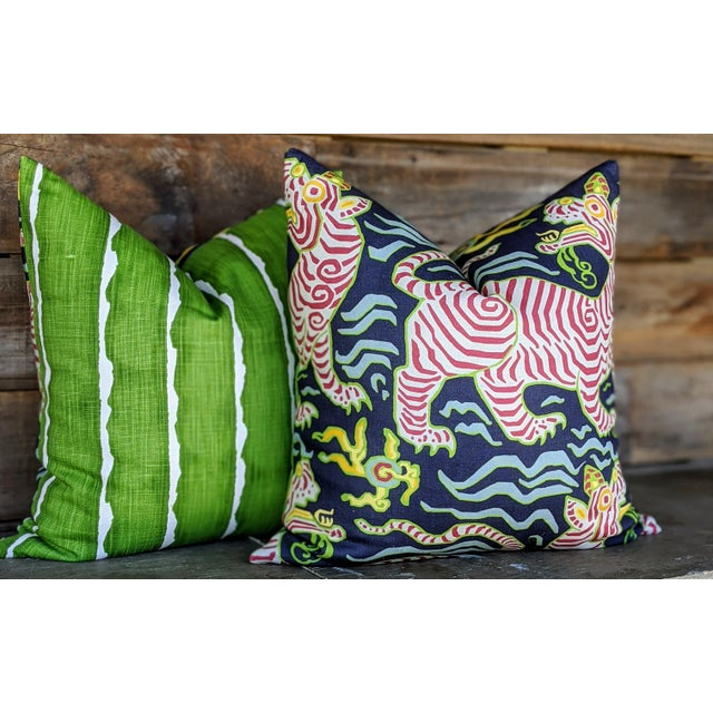 Asian Chinoiserie Clarence House Tibet Tiger Pillows - a Pair For Sale - Image 3 of 4