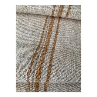 Antique Heavy Hemp Grain Sack Fabric With Caramel Stripes - 2.5 Yards For Sale