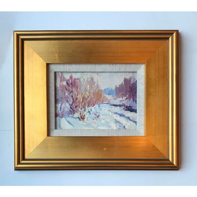2000 - 2009 Vintage Impressionist Style Oil Painting of Winter Landscape For Sale - Image 5 of 5